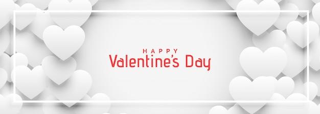 Banner de corazones 3d blanco para el día de san valentín