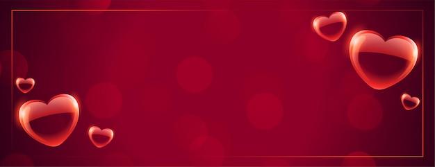 Banner de corazones burbuja flotante con espacio de texto