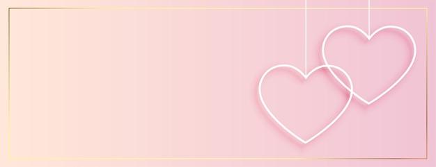 Banner de corazones colgantes simple para el día de san valentín