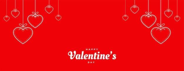 Banner de corazones decorativos rojos del día de san valentín