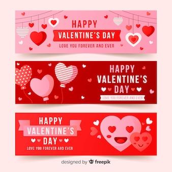Banner corazones día de san valentín