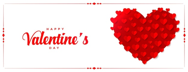 Banner de corazones de feliz día de san valentín en estilo papel