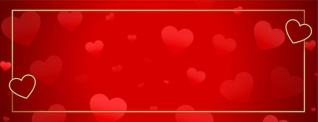 Banner de corazones hermosos con marco dorado y espacio de texto