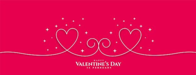 Banner de corazones de línea de feliz día de san valentín creativo