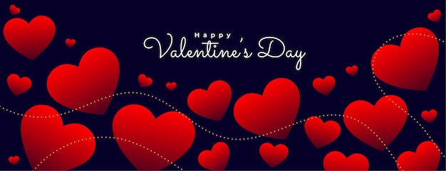 Banner de corazones rojos flotantes del día de san valentín