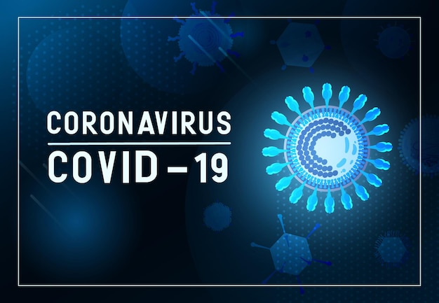 Banner de coronavirus con virus brillante