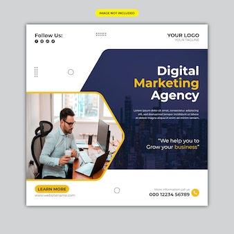 Banner corporativo de agencia de marketing digital o plantilla de publicación en redes sociales