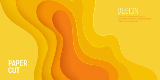 Banner de corte de papel amarillo con fondo abstracto de limo 3d y capas de ondas amarillas.
