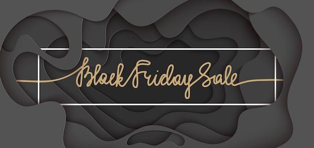 Banner de corte de papel con letras. venta de viernes negro
