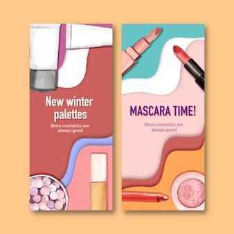 Banner cosmético con lápiz labial, corrector, pincel