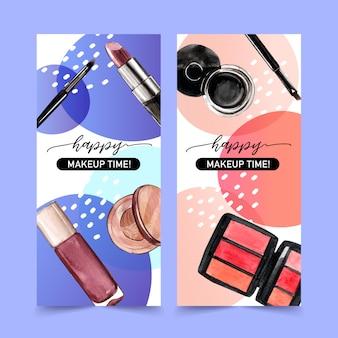 Banner cosmético con lápiz labial, delineador de ojos, sombra de ojos