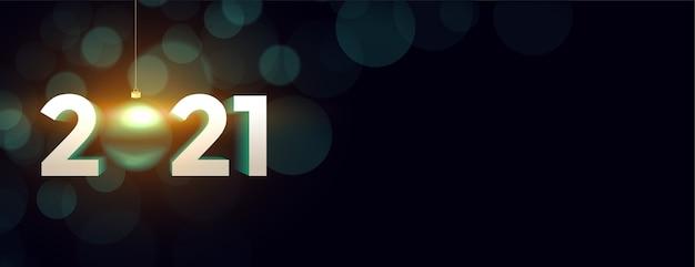 Banner creativo de año nuevo con números 2021.