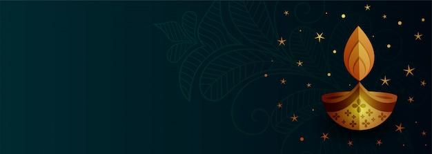 Banner creativo diwali diya con espacio de texto