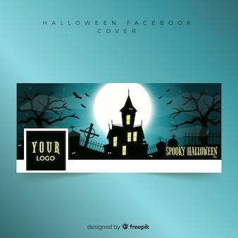 Banner creativo de facebook con concepto de halloween