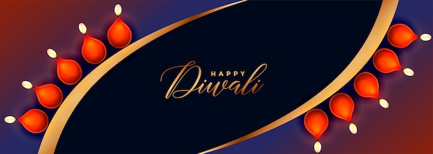 Banner creativo feliz diwali festival con decoración diya