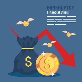 Banner crisis financiera de quiebra, bolsa de dinero con flecha hacia abajo y monedas volando