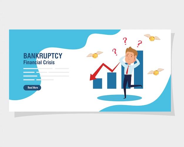 Banner crisis financiera de quiebra, con empresario preocupado e infografía