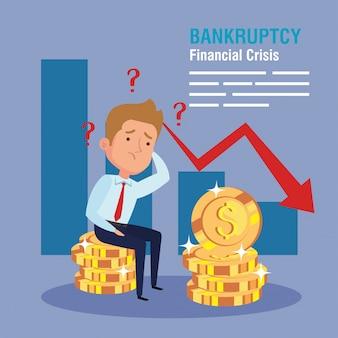 Banner crisis financiera de quiebra, empresario preocupado con infografía y monedas