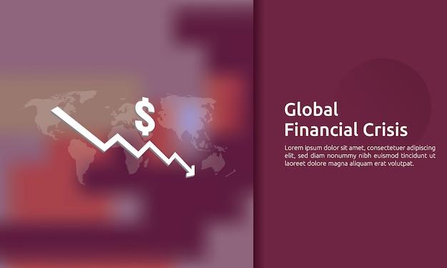 Banner de crisis de finanzas de negocios