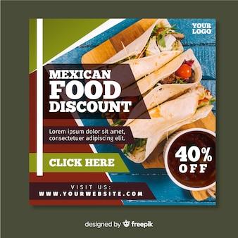 Banner cuadrado con alimentos