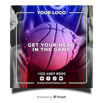 Banner cuadrado de deporte con foto