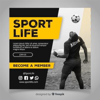 Banner cuadrado de deporte con imagen