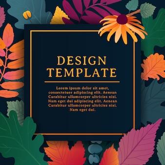 Banner cuadrado de diseño de plantilla para la temporada de otoño con marco blanco y hierba.