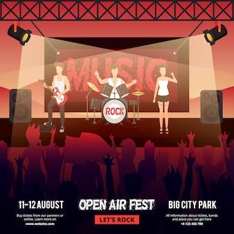 Banner cuadrado del festival con una banda de música rock de frente femenina que se presenta en el escenario frente a la audiencia