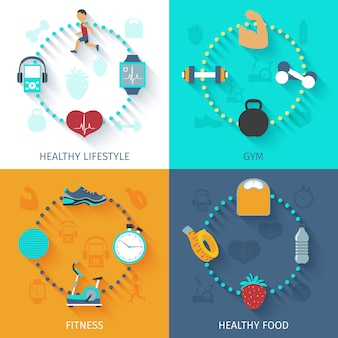 Banner cuadrado de iconos de fitness 4