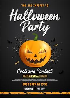 Banner cuadrado de plantilla de cartel de halloween con personaje de calabaza en el centro
