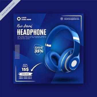 Banner cuadrado promocional de auriculares inalámbricos moderno y elegante para redes sociales y publicación de facebook