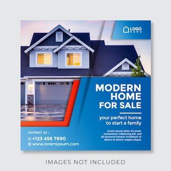 Banner cuadrado de propiedad inmobiliaria casera para redes sociales