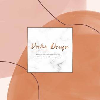 Banner cuadrado de redes sociales con formas de acuarela de trazo de pincel a mano alzada abstracta desnuda y marco de mármol