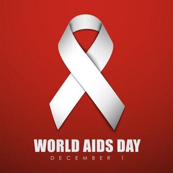 Banner cuadrado rojo con cinta blanca para el día mundial del sida
