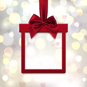Banner cuadrado rojo en forma de regalo con cinta roja y lazo, sobre fondo borroso lite con corazones y bokeh. tarjeta de felicitación del día de san valentín, folleto o plantilla de banner. ilustración.