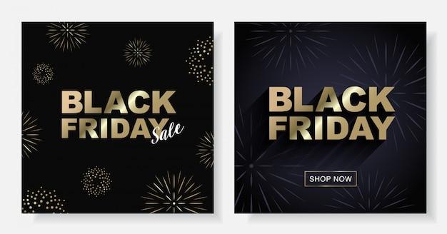Banner cuadrado de vector de venta de viernes negro