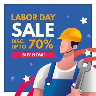 Banner cuadrado de venta del día del trabajo
