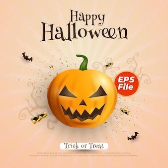 Banner cuadrado de venta de halloween con personaje de calabaza en el centro