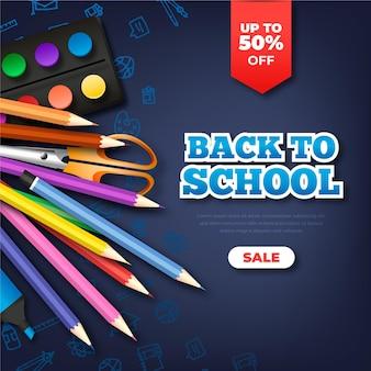 Banner cuadrado de ventas realistas de regreso a la escuela