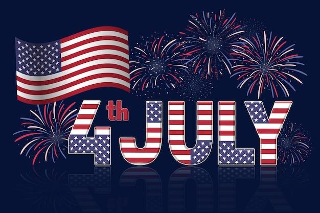 Banner del cuatro de julio con fuegos artificiales sobre fondo azul oscuro