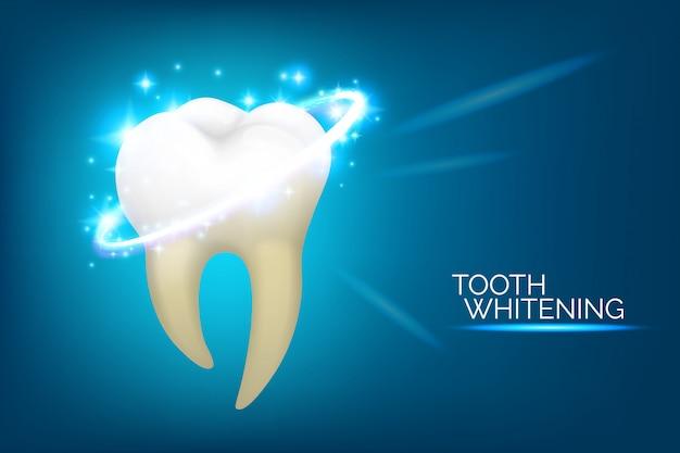 Banner de cuidado dental y blanqueamiento dental. conjunto de ilustración de higiene oral, estilo realista. odontología o estomatología