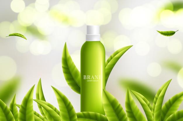 Banner de cuidado de la piel de té verde con fondo de jardín de té