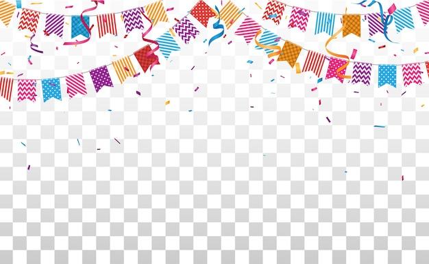 Banner de cumpleaños y celebración con confeti de colores