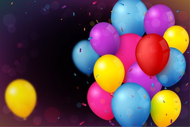 Banner de cumpleaños y celebración con globo de colores