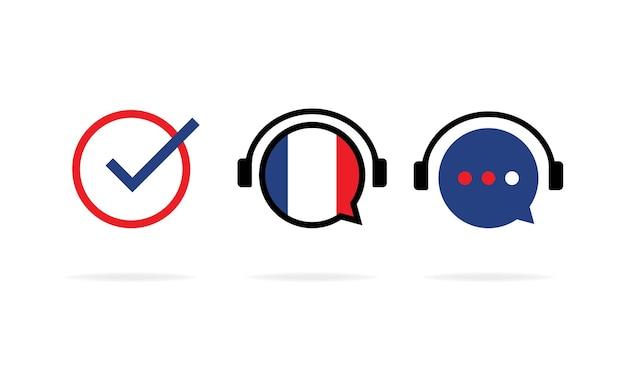 Banner de curso de francés en línea. curso digital. educación en línea. cursos de idiomas online. practica de lenguaje. vector eps 10. aislado sobre fondo blanco.