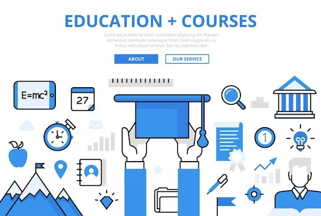 Banner de cursos de educación en estilo plano.