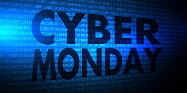 Banner de cyber monday con diseño de código binario