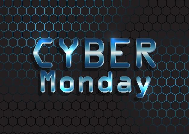 Banner de cyber monday con texto metálico en patrón hexagonal