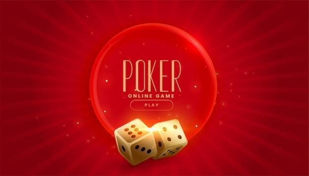 Banner con dados de casino de oro en rojo