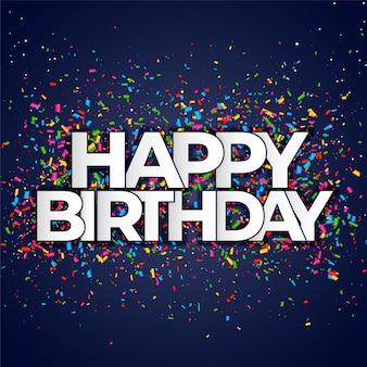 Banner de feliz cumpleaños con confeti